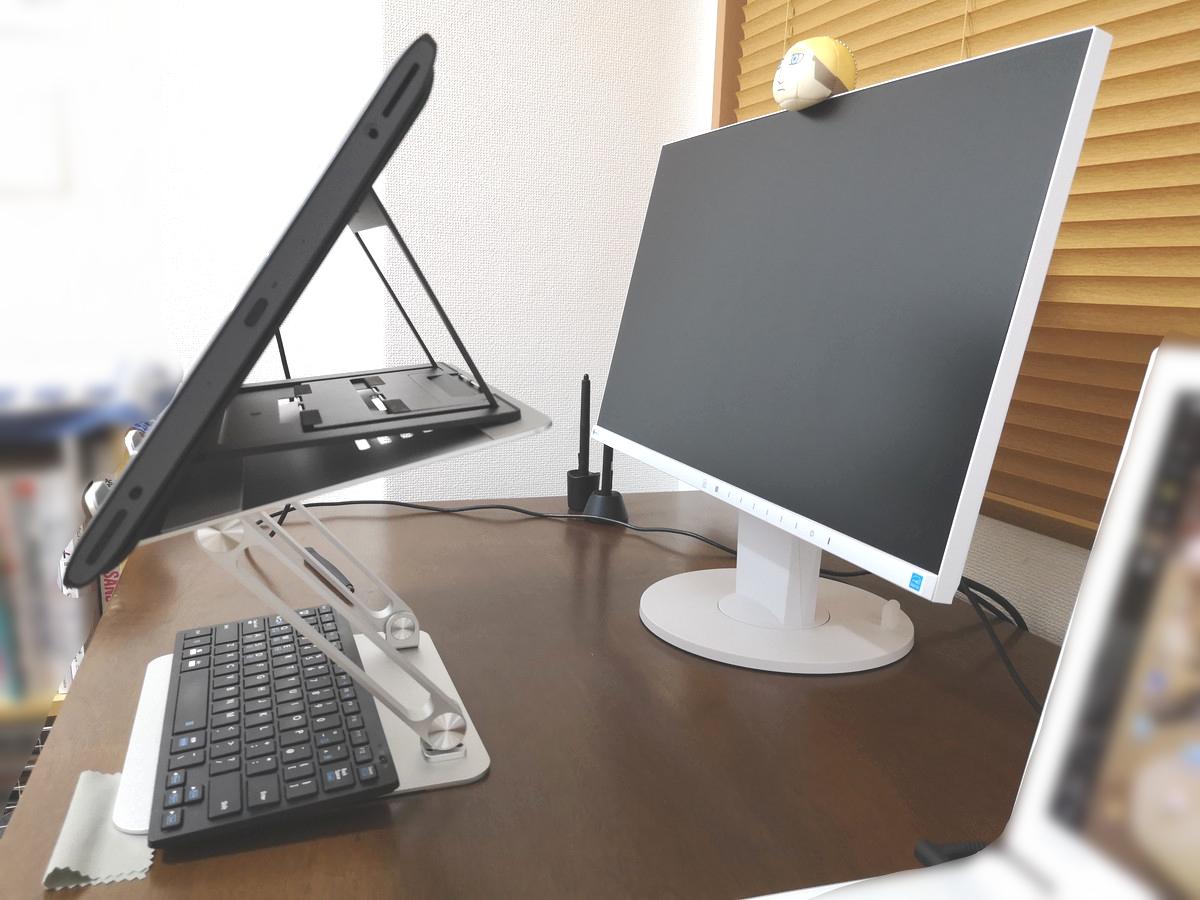 Boyataノートパソコンスタンドを液タブで使用横からの写真