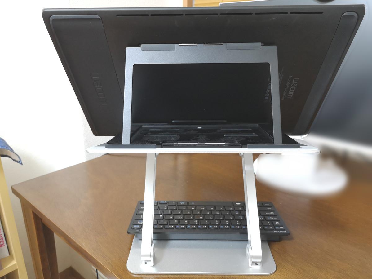Boyataノートパソコンスタンドを液タブで使用後ろからの写真